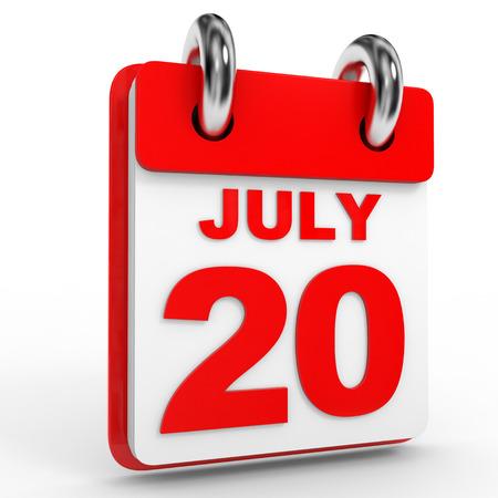 calendario julio: 20 Calendario julio sobre fondo blanco. Ilustración 3D.