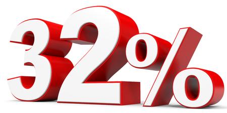 32: Discount 32 percent off. 3D illustration.