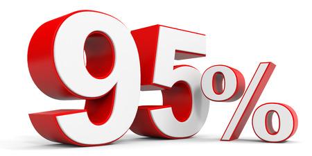 95: Discount 95 percent off. 3D illustration.
