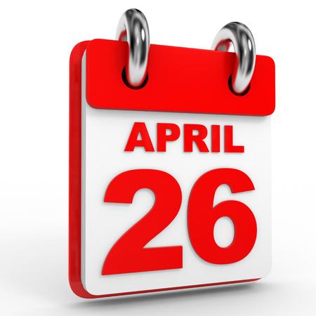 twenty sixth: 26 april calendar on white background. 3D Illustration.