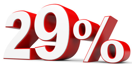 29: Discount 29 percent off. 3D illustration.