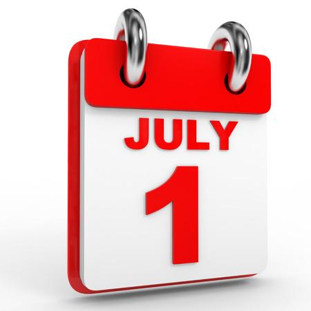 july calendar: 1 july calendar on white background. 3D Illustration.