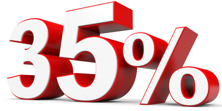 35: Discount 35 percent off. 3D illustration. Stock Photo