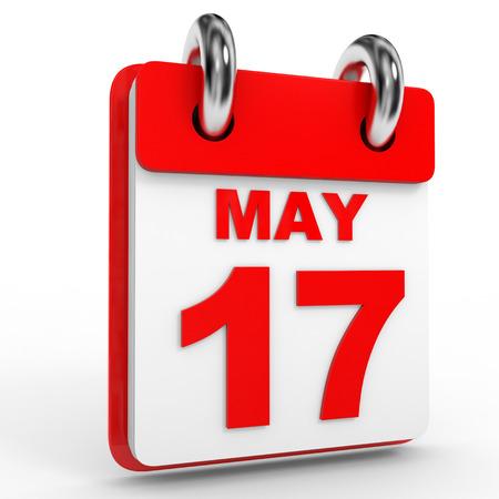 17: 17 may calendar on white background. 3D Illustration.