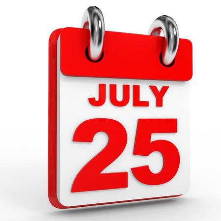 calendario julio: 25 july calendar on white background. 3D Illustration.