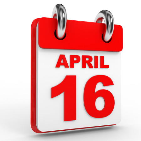 16: 16 april calendar on white background. 3D Illustration. Stock Photo