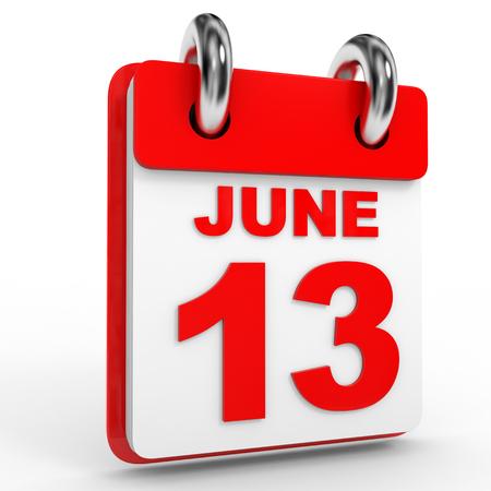 13th: 13 june calendar on white background. 3D Illustration. Stock Photo