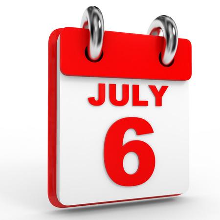 calendario julio: 6 Calendario julio sobre fondo blanco. Ilustración 3D.