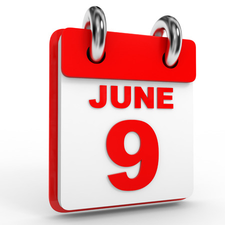 9th: 9 june calendar on white background. 3D Illustration.