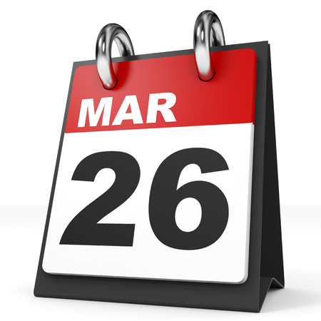 26: Calendar on white background. 26 March. 3D illustration. Stock Photo