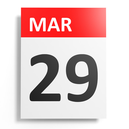 twenty ninth: Calendar on white background. 29 March. 3D illustration. Stock Photo