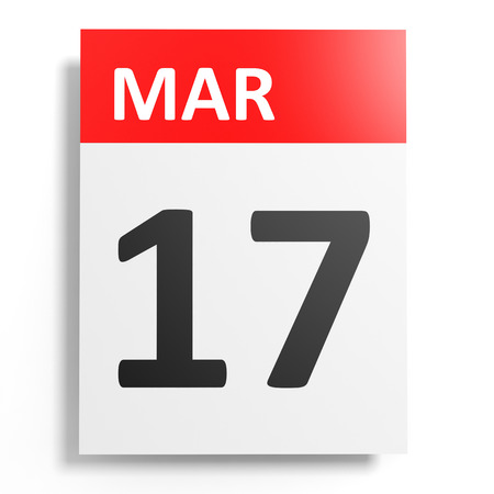 17 march: Calendar on white background. 17 March. 3D illustration.