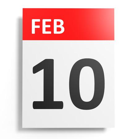 10th: Calendar on white background. 10 February. 3D illustration.