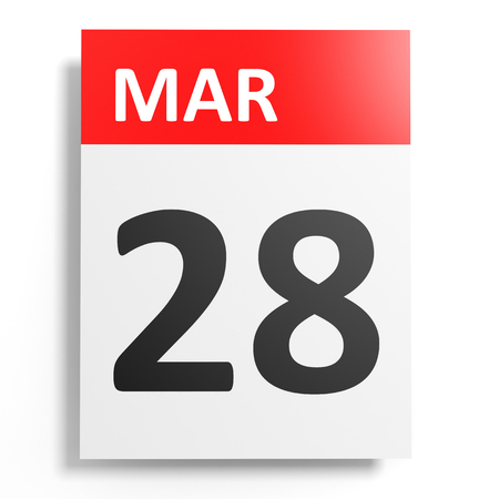 28: Calendar on white background. 28 March. 3D illustration. Stock Photo