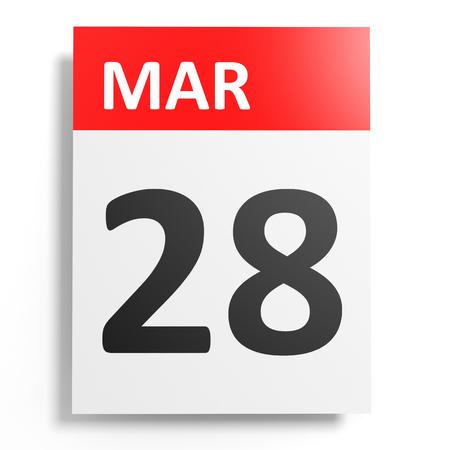 28: Calendar on white background. 28 March. 3D illustration. Stock Photo