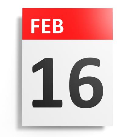 16: Calendar on white background. 16 February. 3D illustration.