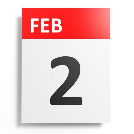 2 months: Calendar on white background. 2 February. 3D illustration. Stock Photo