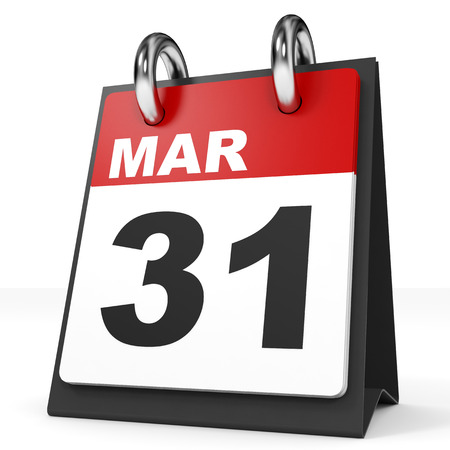 31th: Calendar on white background. 31 March. 3D illustration.