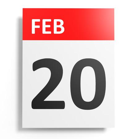 20th: Calendar on white background. 20 February. 3D illustration.