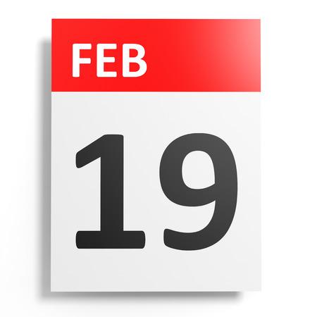 19: Calendar on white background. 19 February. 3D illustration. Stock Photo