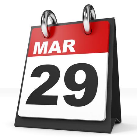 29: Calendar on white background. 29 March. 3D illustration. Stock Photo