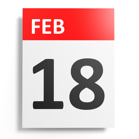18: Calendar on white background. 18 February. 3D illustration. Stock Photo