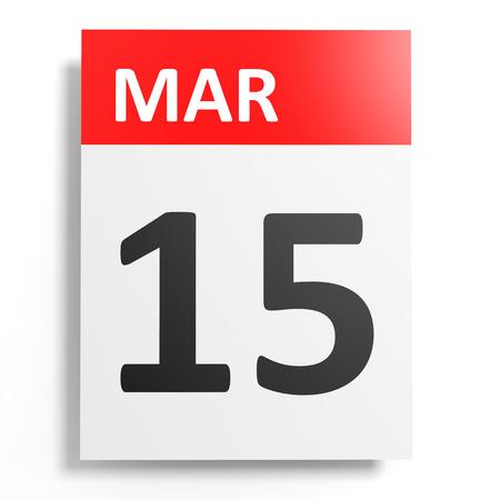 15: Calendar on white background. 15 March. 3D illustration.