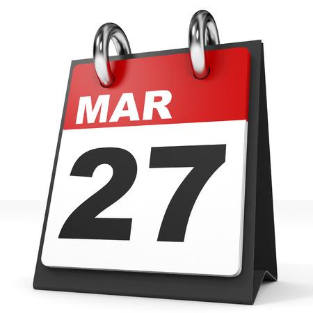 27: Calendar on white background. 27 March. 3D illustration.