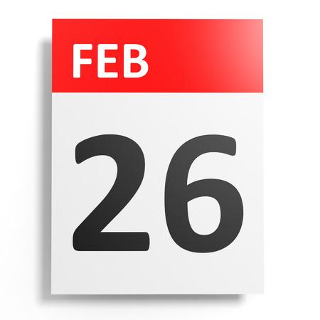 twenty sixth: Calendar on white background. 26 February. 3D illustration. Stock Photo