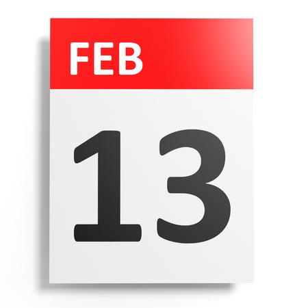 number 13: Calendar on white background. 13 February. 3D illustration. Stock Photo