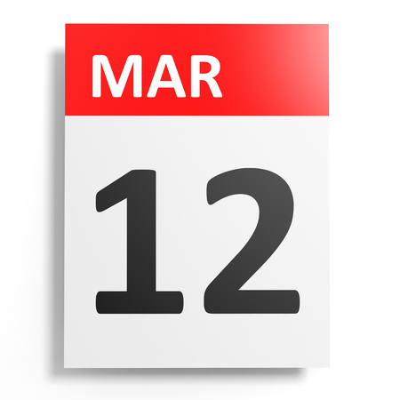 a 12: Calendar on white background. 12 March. 3D illustration. Stock Photo