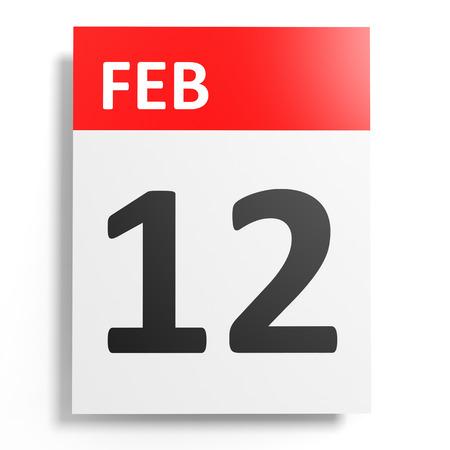 12: Calendar on white background. 12 February. 3D illustration.