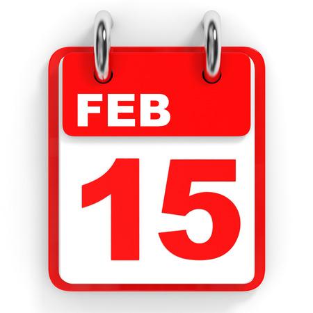 15: Calendar on white background. 15 February. 3D illustration. Stock Photo