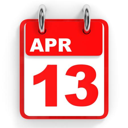 13th: Calendar on white background. 13 April. 3D illustration. Stock Photo