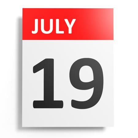 19: Calendar on white background. 19 July. 3D illustration.