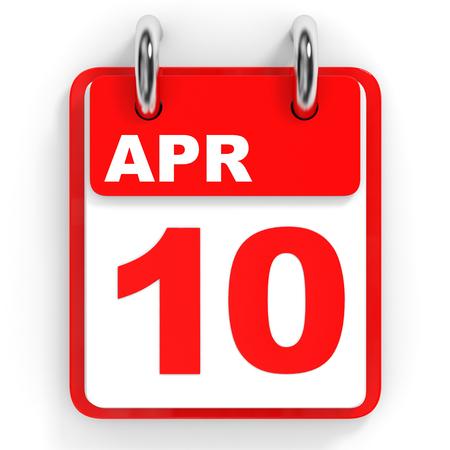10th: Calendar on white background. 10 April. 3D illustration.