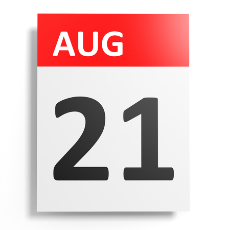 one on one meeting: Calendar on white background. 21 August. 3D illustration. Stock Photo