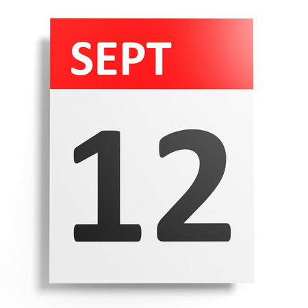 a 12: Calendar on white background. 12 September. 3D illustration. Stock Photo