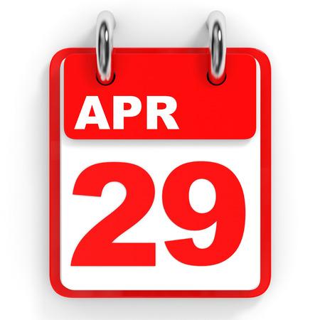 29: Calendar on white background. 29 April. 3D illustration.