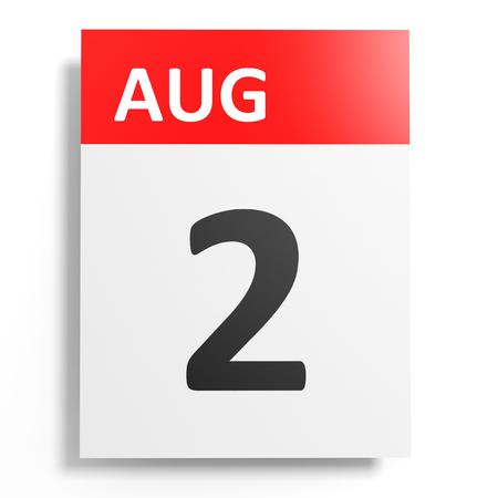 2 months: Calendar on white background. 2 August. 3D illustration. Stock Photo