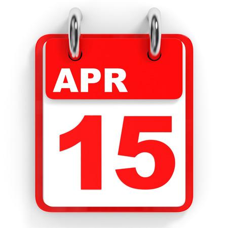 15: Calendar on white background. 15 April. 3D illustration.