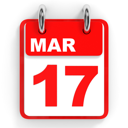 17th march: Calendar on white background. 17 March. 3D illustration.