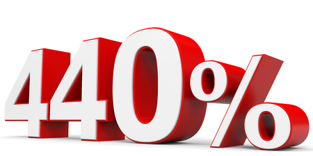 price hit: Discount 440 percent off. 3D illustration. Stock Photo