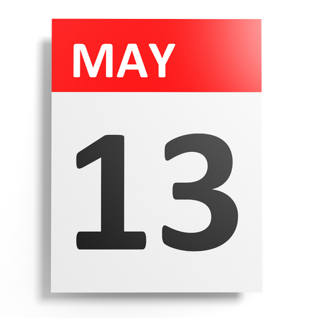 13th: Calendar on white background. 13 May. 3D illustration.