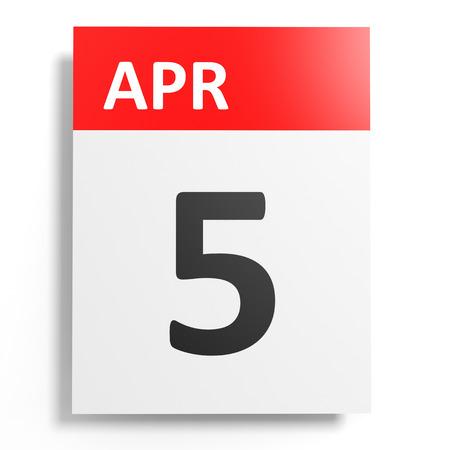 5th: Calendar on white background. 5 April. 3D illustration.