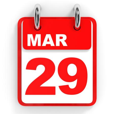 twenty ninth: Calendar on white background. 29 March. 3D illustration. Stock Photo