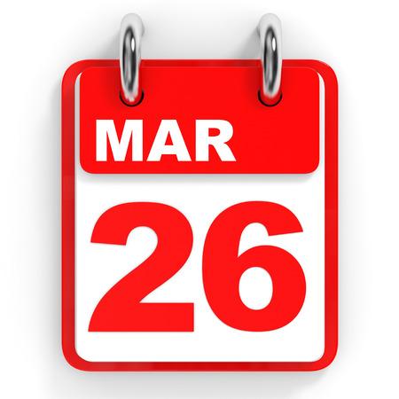 twenty sixth: Calendar on white background. 26 March. 3D illustration. Stock Photo