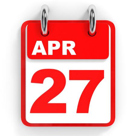 27: Calendar on white background. 27 April. 3D illustration.