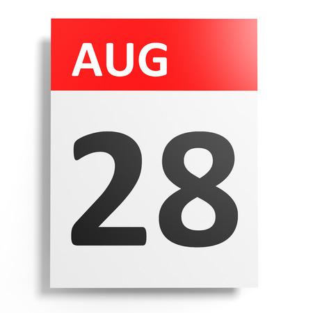 august: Calendar on white background. 28 August. 3D illustration.