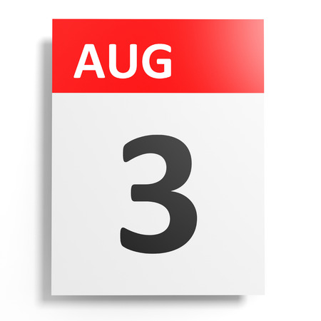 august: Calendar on white background. 3 August. 3D illustration.